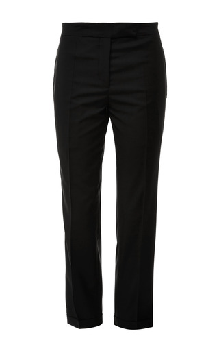 Low Rise Skinny Trouser In Black Kid Mohair With Black Gg Tipping by THOM BROWNE for Preorder on Moda Operandi