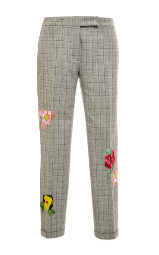 Low Rise Skinny Trouser In Black And White Plain Weave Prince Of Wales by THOM BROWNE Now Available on Moda Operandi