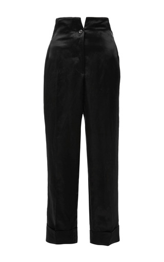 High Waist Hollywood Trouser In Dark Green Satin Linen by THOM BROWNE for Preorder on Moda Operandi