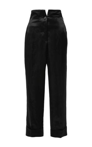 High Waist Hollywood Trouser In Dark Green Satin Linen by THOM BROWNE for Preorder on Moda Operandi