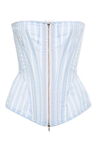 Medium thom browne stripe corset in light blue with white stripe poplin