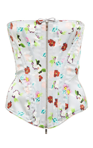 Corset In Light Grey Painted Floral Charmeuse by THOM BROWNE for Preorder on Moda Operandi