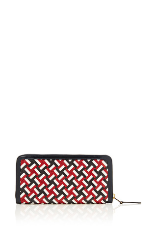 Long Zip Wallet In Small Rwb Weave by THOM BROWNE for Preorder on Moda Operandi