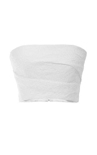 Medium monique lhuillier white jacquard bandeau top