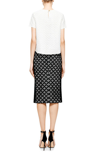 Monique Lhuillier Circle Lace Pencil Skirt With Silk Side Panels by MONIQUE LHUILLIER for Preorder on Moda Operandi