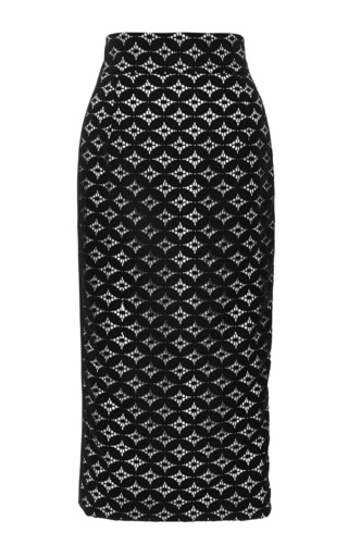 Medium monique lhuillier black circle lace pencil skirt with silk side panels
