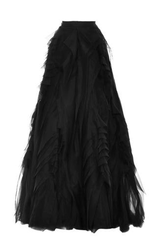 Medium monique lhuillier black raw edge organza ball skirt