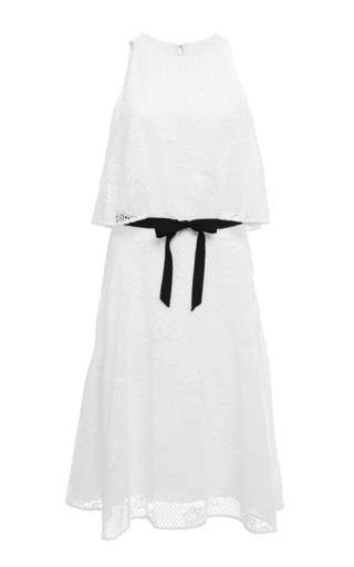 Medium monique lhuillier white sleeveless a line dress with overlay