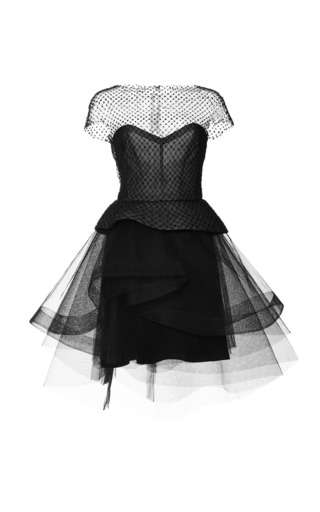 Medium monique lhuillier black cap sleeve peplum cocktail dress with tiered skirt