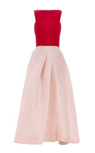 Medium monique lhuillier nude color block gazar sleeveless dress