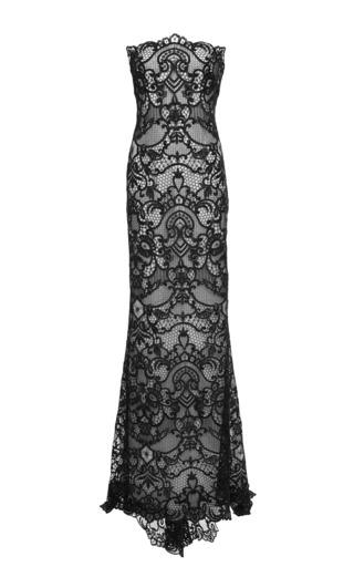 Medium monique lhuillier navy strapless lace gown