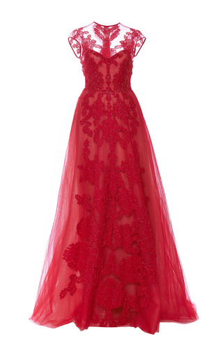 Medium monique lhuillier red rouge sleeveless gown with illusion neckline