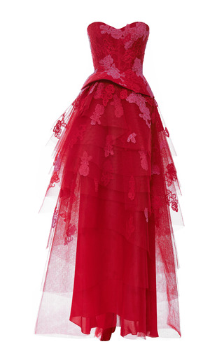 Medium monique lhuillier red lace embroidered strapless gown with tiered skirt