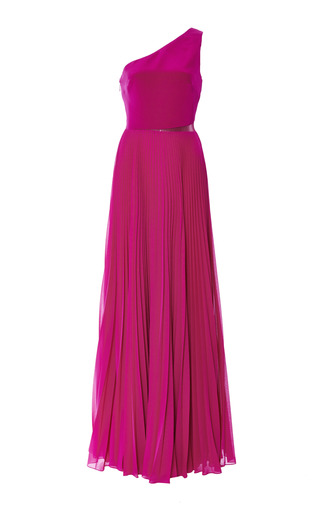 Medium monique lhuillier pink magenta one shoulder gown with pleated skirt