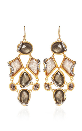 Medium alexis bittar gold phoenix 18k gold black moonstone and pyrite cluster earrings