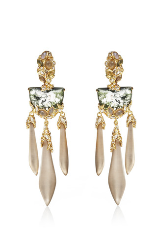Imperial 10 K Gold Extra Large Crystal Lace Chandelier Earring by ALEXIS BITTAR for Preorder on Moda Operandi
