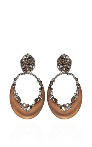 Imperial Noir Large Crystal Lace Crescent Earrings by ALEXIS BITTAR for Preorder on Moda Operandi