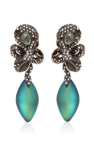 Medium alexis bittar blue imperial noir medium crystal lace snake earrings
