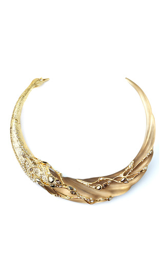 Medium alexis bittar gold imperial 10k gold crystal embellished swan collar