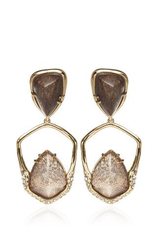 Medium alexis bittar brown miss havisham kinetic 10k gold moonstone earrings