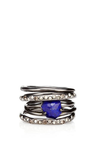 Medium alexis bittar blue miss havisham rotating stack lapis ring