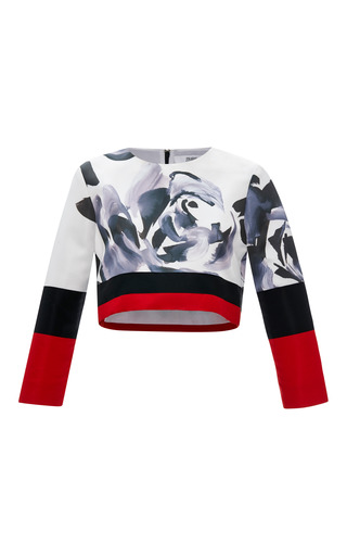Medium prabal gurung multi technical satin cropped combo blouse