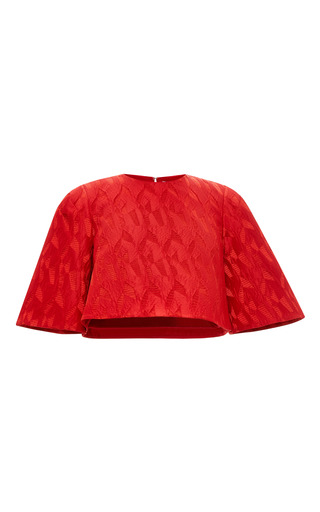 Medium prabal gurung red textured jacquard cropped blouse