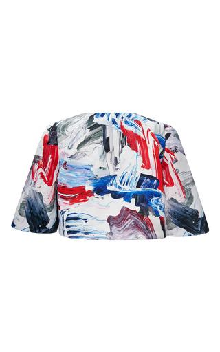 Technical Satin Cropped Half Sleeve Blouse by PRABAL GURUNG for Preorder on Moda Operandi