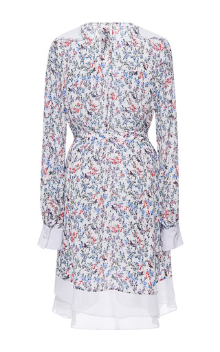 Printed Georgette Long Sleeve Dress by PRABAL GURUNG for Preorder on Moda Operandi