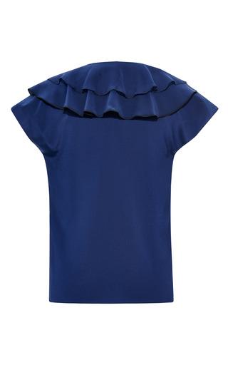 Crepe De Chine Layered Ruffle Open Neck Blouse by PRABAL GURUNG for Preorder on Moda Operandi