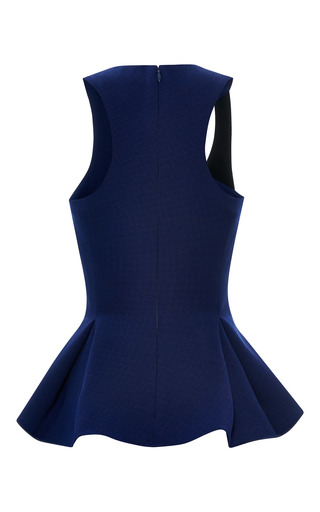 Ink Blue Crepe Sleeveless Peplum Blouse by PRABAL GURUNG for Preorder on Moda Operandi