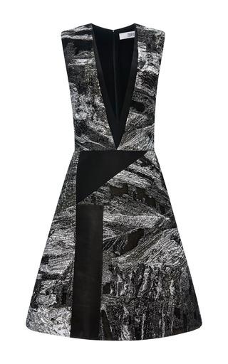 Medium prabal gurung white lurex jacquard sleeveless a line dress