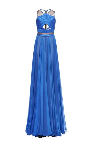 Medium prabal gurung blue chiffon sleeveless cut out gown