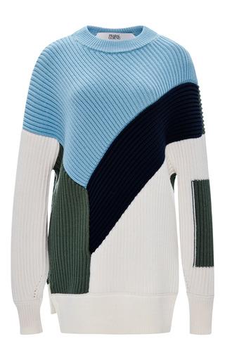 Medium prabal gurung multi chunky knit long sleeve color block sweater