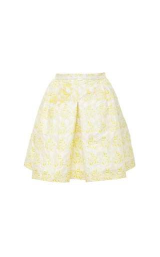 Medium giambattista valli yellow floret jacquard mini skirt