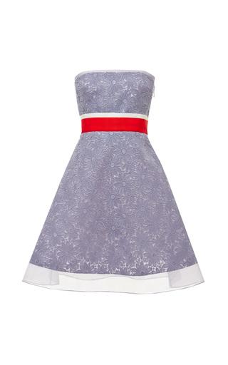 Medium giambattista valli blue daisy macrame flared bustier dress
