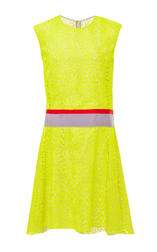 Medium giambattista valli yellow dahlia macrame drop waist dress