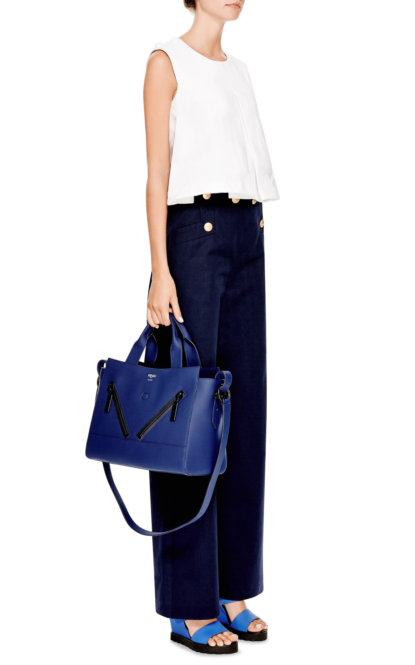 b95cf911e1 Kalifornia Medium Tote Bag In Bleu Marine Gommato Leather by Kenzo ...