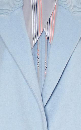 Powder Blue Ribbed Lapel Coat by THAKOON for Preorder on Moda Operandi