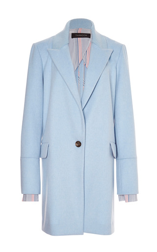Powder Blue Ribbed Lapel Coat by THAKOON for Preorder on Moda Operandi