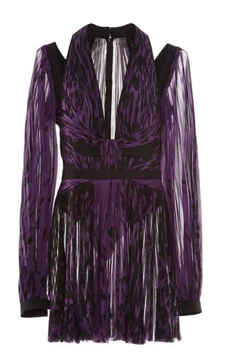 Medium j mendel black long sleeve pleated dress with noir 4 ply seamed detail