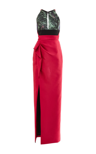 Medium j mendel black column gown with lurex cloque jacquard bodice and belt