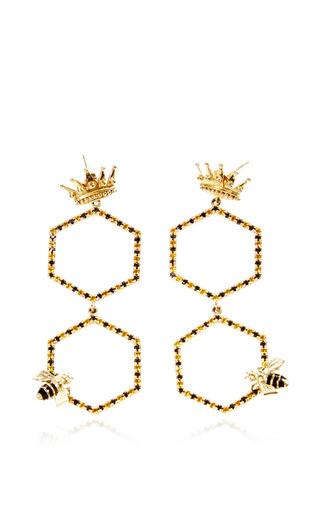 Medium alison lou blue queen bee drops earrings