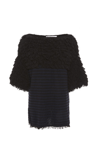 Medium thakoon addition navy textured looped fringe tunic