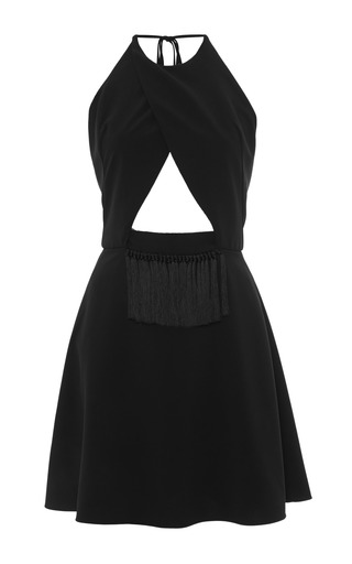 Medium thakoon addition black solid crepe cutout halter dress