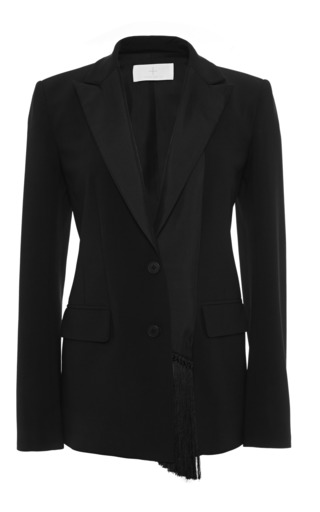Medium thakoon addition black solid crepe fringe front blazer