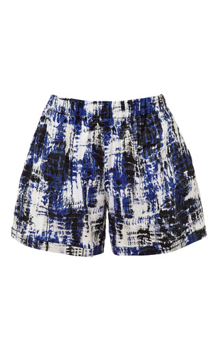 Medium sea blue brushstroke cotton shorts