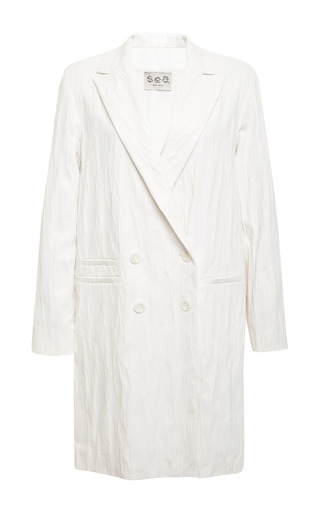 Medium sea white ridged jersey overcoat