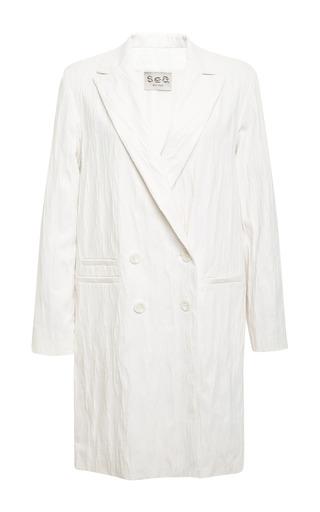 Medium sea white ridged jersey overcoat