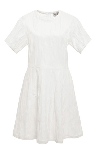 Medium sea white ridged jersey short sleeve dress